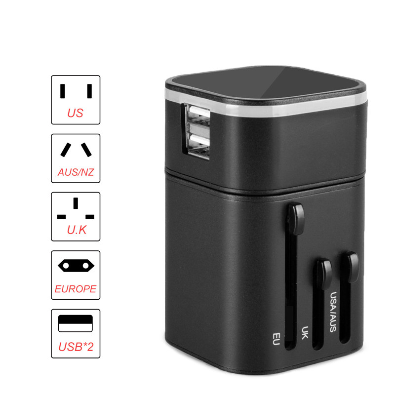 Travel Adapter Worldwide All in One Universal Travel Adaptor Wall AC Power Plug Adapter Wall Charger with Dual USB Charging Port