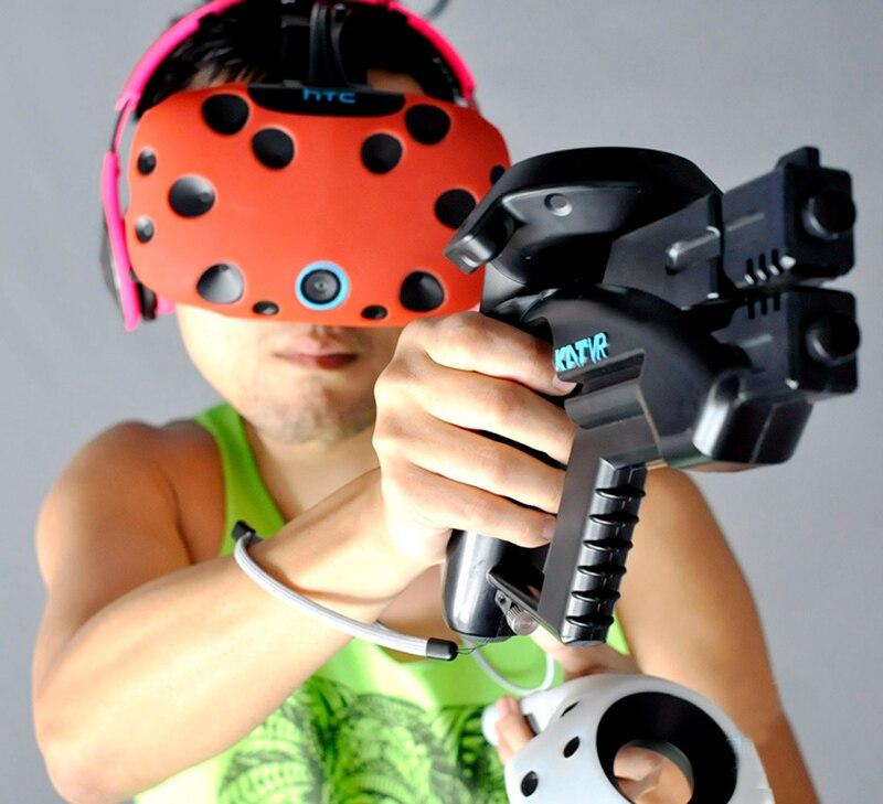 d7b3db77647 Arma Para HTC Viva VR VR PRO Headset Óculos experiência loja Controlador  handle Caso VR VR Arma Pequena Pistola de Tiro jogo em VR Óculos de AR  Acessórios ...