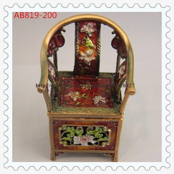 Miniature Antique Chair Jewelry Trinket Box Bejeweled Chinese Chair Shaped Decorative Wedding Gift