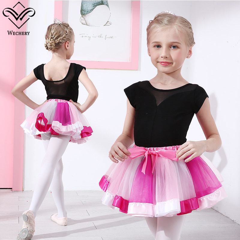 Wechery Dancing Skirt for Ballet Tutu Skirts Elastic Mini Bow Tie Red Purple Skirt for Gymnastics Leotards Red Purple Colorful