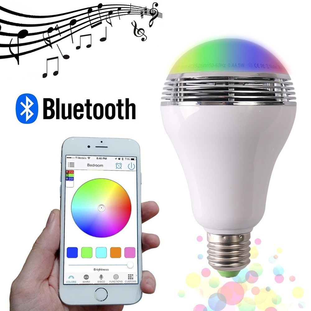 Colorful Smart LED Bulb Bluetooth Speaker LED RGB Light E27 Base Wireless Music Player with Phone APP Remote Control kmashi led flame lamp night light bluetooth wireless speaker touch soft light for iphone android christmas gift mp3 music player