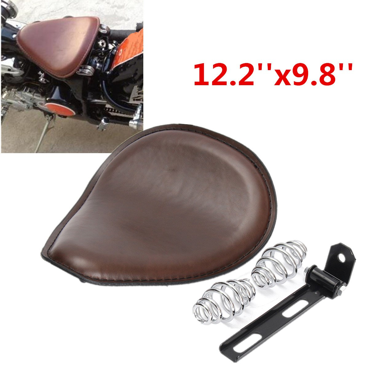 ФОТО 1 Set 12.2 x 9.8 Inch Leather Tuck Roll Motorcycle Seat Retro Cushion For Harley /Bobber /Chopper