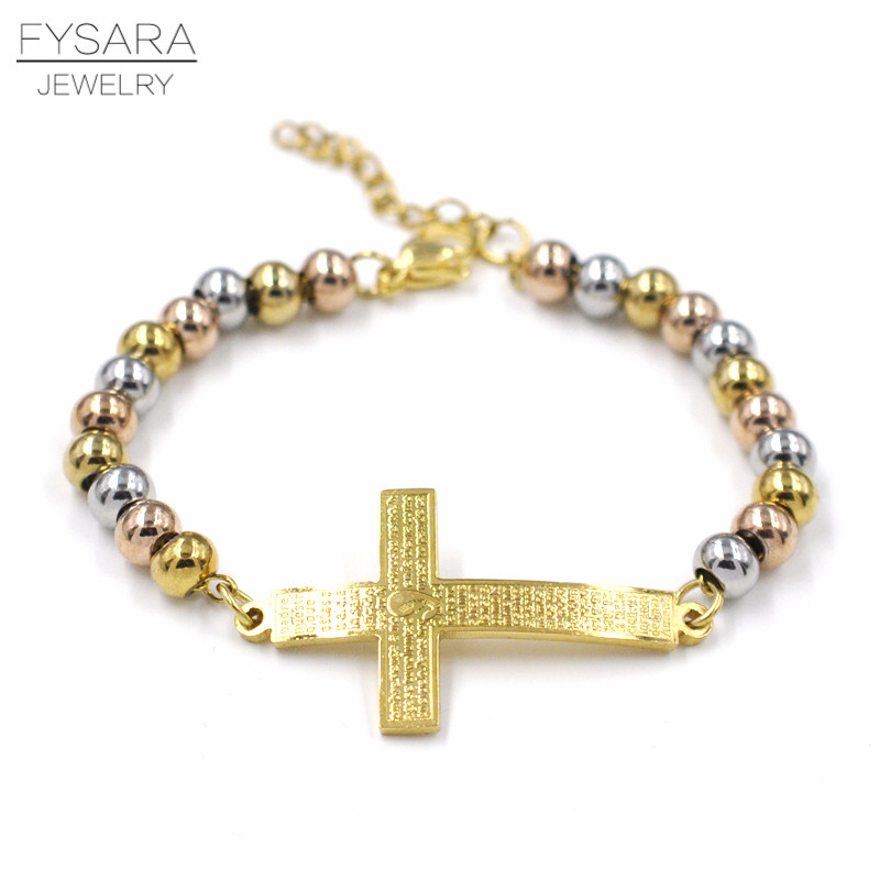 FYSARA Mix / Gold Bible Cross Heart Charm Cuff Gelang Stainless Steel Rosary Beads Gelang & Bangles Unisex Religion Pulseira