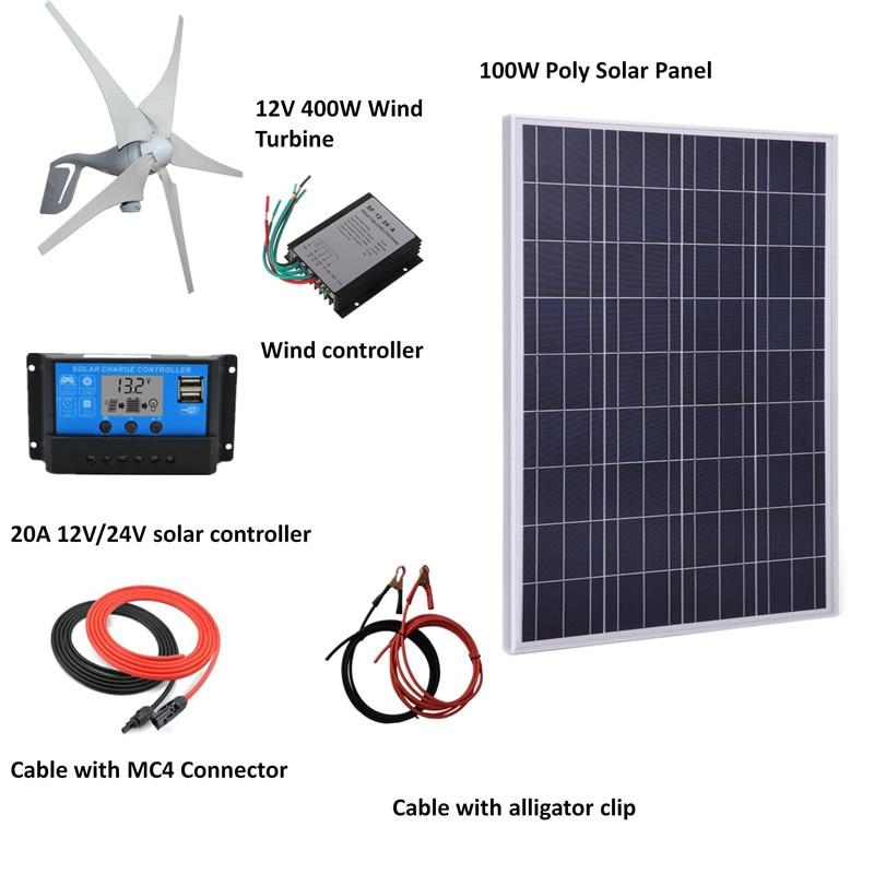 500W W/H Hybrid System Kit: 100W poly solar panel,400W Wind Turbine Generator,controller, accessories