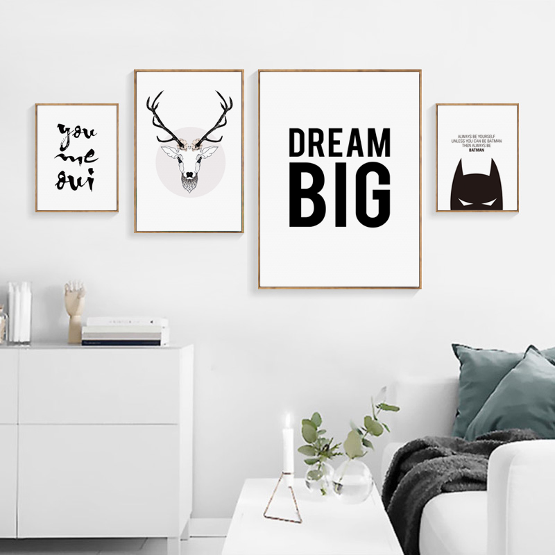 US $2.7 50% OFF Tableau Decoration Murale Salon Modern Deer Head Abstract  English Batman Phrase Canvas Poster And Print Art Picture Home Decor-in ...