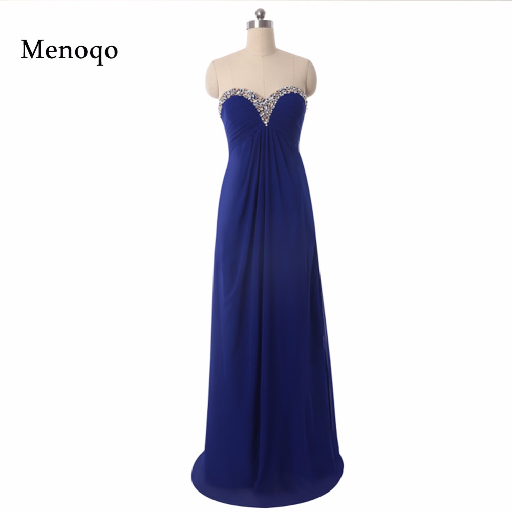 New Arrival Custom Made Royal blue Long Chiffon A line Beaded Floor length long Real Sample   Bridesmaid     Dresses   2018