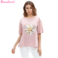 Oversized T Shirt Women Tops 2017 Summer Sequined Flower Punk Plus Size Loose Tee Shirt Female