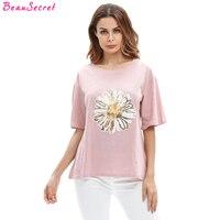Oversized T Shirt Women Tops 2017 Summer Sequined Flower Punk Plus Size Loose Tee Shirt Female