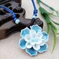 Newly Multistyle Flowers Porcelain Traditional Jewelry Knitted High Quality Lotus Pendant Sweater Adjustable Ceramic Necklace