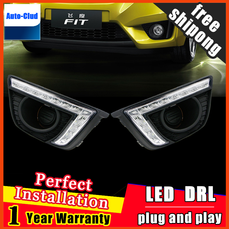 Car styling For Honda Fit 2014 2015 LED DRL For FIT Led Fog Lamps Led Daytime Running Lights High Brightness Guide LED DRL daytime running lights car styling for h onda c ivic 2011 2015 auto drl fog lamps