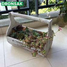 цена на Wooden Flower Pot Rural Retro Hand To Do The Old Wooden Portable Flower Pot Succulents Home Storage Basket Desktop Balcony Vase