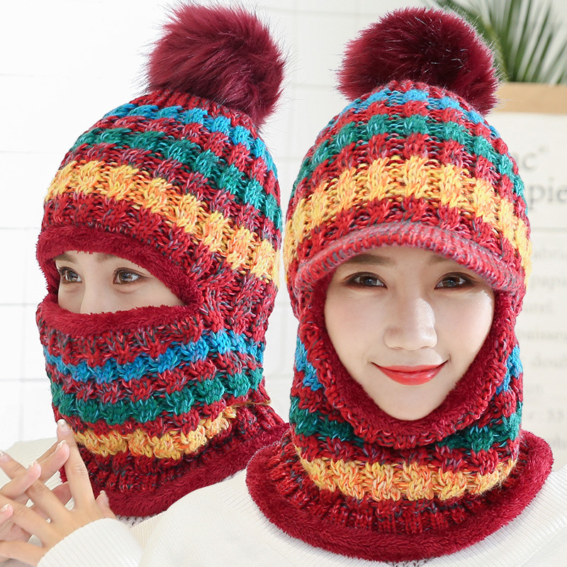 5b89d897aa6 Winter Women Knitted Hat Scarf Set Hairball Pom Pom Fashion Wool Thickening  Hat Collars Female Warm
