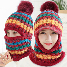 Winter Women Knitted Hat Scarf Set Hairball Pom Pom Fashion Wool Thickening Hat Collars Female Warm Beanie Hat Riding Snow Caps cn rubr hot 2017 fashion winter warm neck wrap fox scarf caps cute children wool knitted baby shawls hooded cowl beanie caps