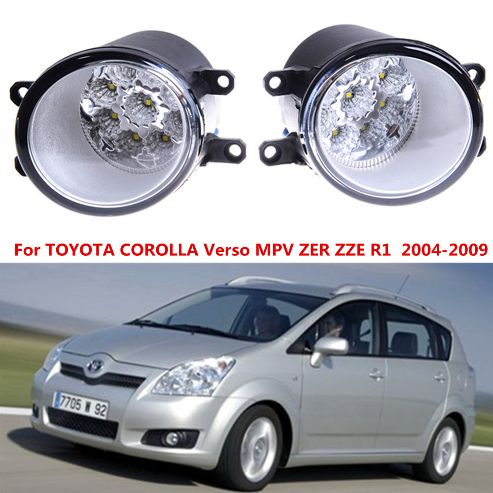 For TOYOTA COROLLA Verso MPV ZER ZZE R1  2004-2009 Car styling front bumper LED fog Lights high brightness fog lamps 1set цена и фото