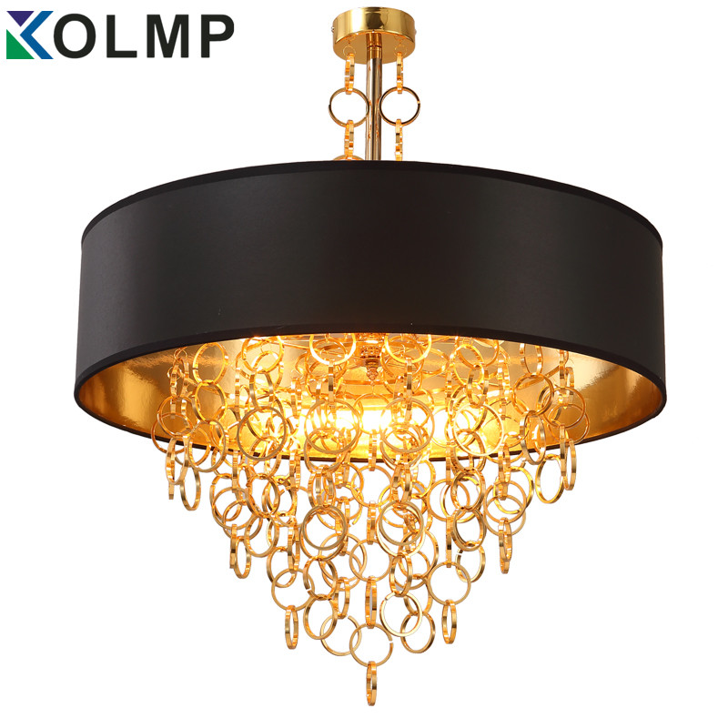 American Gold+black chandelier aluminum fabric shade gold ...