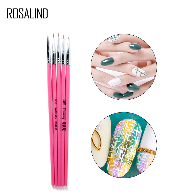 Rosalind 1PCS Nail Brush Acrylic UV Gel Nail Art Paint Drawing Pen Liner Brush For Manicure Tools Brushes Nail Art for manicure satlink ws 6980 7inch hd lcd screen dvb s2 dvb t dvb t2 dvb c ws 6980 combo finder with spectrum analyzer constellation meter