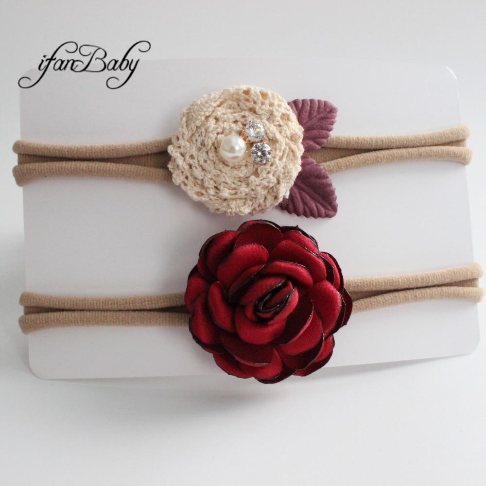 kids girl fabric flower headband nylon headband (7)