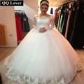QQ Lover 2017 Vestido De Noiva New Design Custom-made Lace Long Sleeve Puffy Wedding Gown Brides Wedding Dress Robe De Mariage