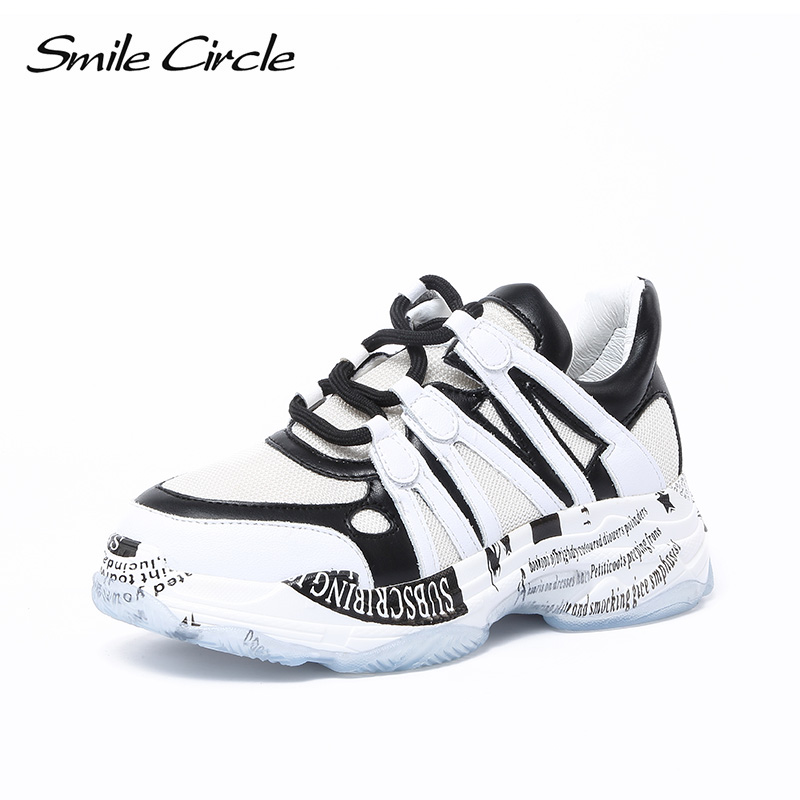 Smile Circle Chunky Sneakers Women Lace-up breathable Mesh casual shoes 2018 Autumn Thick bottom Shoes For women high quality smile circle women chunky sneaker breathable mesh lace up thick bottom flat platform shoes for women autumn round toe sneakers