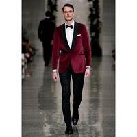 Groomsmen Shawl Black Satin Lapel Groom Tuxedos Velvet Men Suits One Button Suit Custom made bespoke
