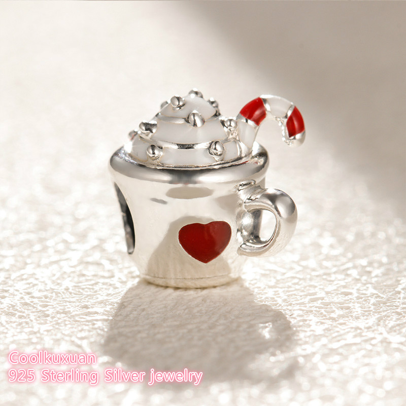 6db217244 100% 925 Sterling Silver Warm Cocoa Charm, White & Red Enamel beads Fit  Original