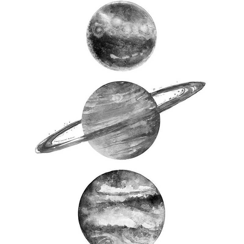 Solar System Wall Art Canvas Painting Black and White Picture , Planets Space Poster Print Minimalist Home Wall Art Decor