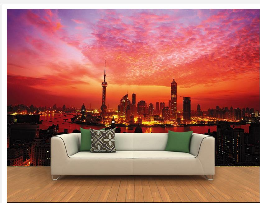 wall 3d wallpaper 3D night under the city of Shanghai Bund night background wall painting Home Decoration -in Wallpapers from Home Improvement on ...