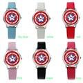 Capitán América Miran Los Relojes de Moda Reloj de Cuarzo reloj de Cuero Niños niños niñas Estudiantes de Pulsera