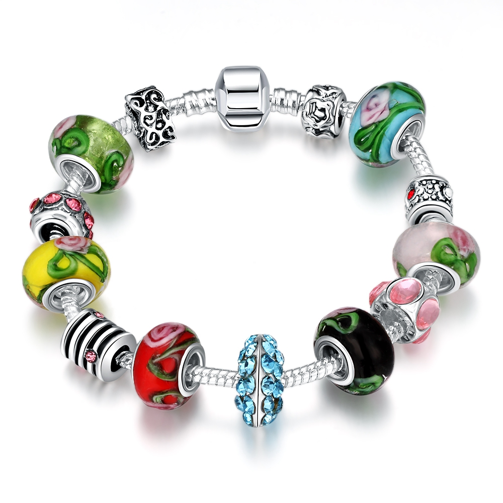 Pandor Bracelet Silver 925 Original Charms Crystal Beads Fit Charm Brand Jewelry Colorful Elegant Transfer Beads Ladies Bracelet