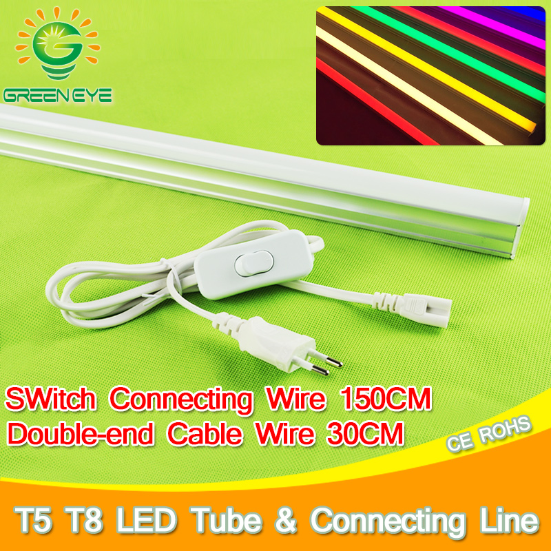 1.5m EU Pulg Cable Wire With Switch /30cm Double-End Cable 3pin For LED T8 T5 Integrated Tube Light Connector Power Adapter 60cm