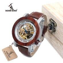 Бобо птица WK12 красного сандалового дерева и Сталь подвергается механические часы старинные бронзовые скелет часы мужской Античная стимпанк автоматическая