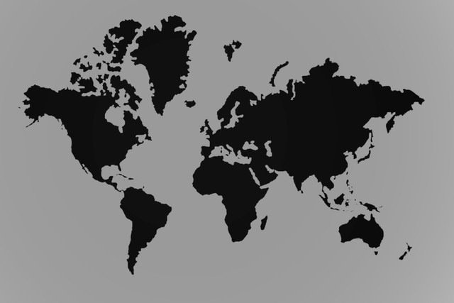 Free Ship World Map Black And Gray Classic Retro Photo Wallpaper - World map silhouette poster