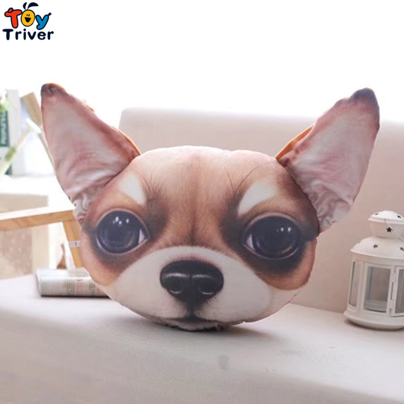 Plush Simulation Bull Terrier Lottweiler Chihuahua Dog Toy Stuffed Pet Head Pillow Birthday Party Gift Home Shop Decor Triver in Stuffed Plush Animals from Toys Hobbies
