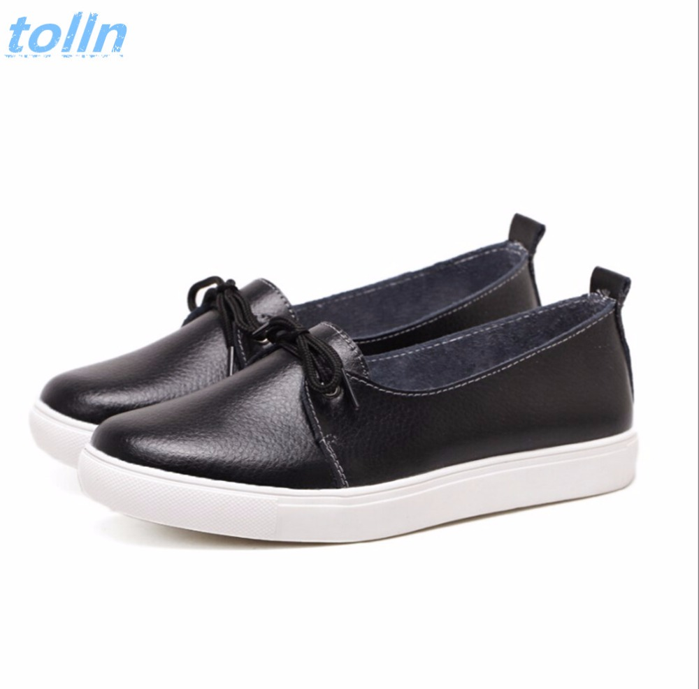 Spring Genuine leather women white flat shoes fashion lady casual shoes soft moccasins woman lace-up Ballet Flats Plus size35-40 2017 new women shoes genuine leather casual shoes flats breathable lace up soft fashion brand shoes comfortable round toe white
