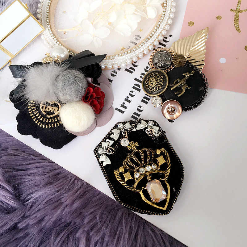 Korea Handmade Rhinestone Crown Hairband Vintage Lencana Bros Pin Fashion Perhiasan untuk Wanita Gadis Accessories-SWGWBH079F
