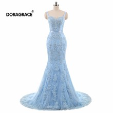 Doragrace Real Photo Sleeveless Lace-Up Mermaid Evening Gowns Lace Dresses