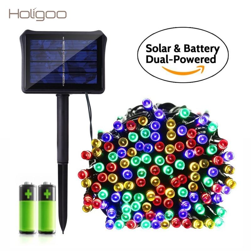 holigoo solar battery dual powered outdoor string lights 72 ft 8 modes 200 led waterproof. Black Bedroom Furniture Sets. Home Design Ideas