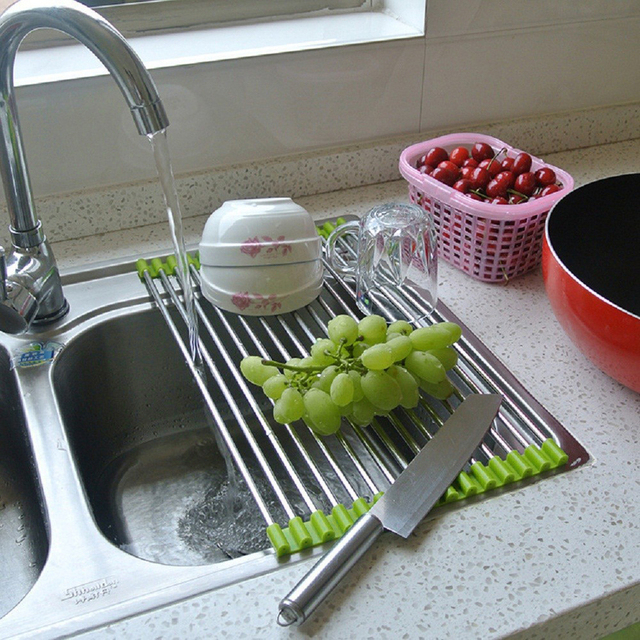 2 Colors Multipurpose Roll Up Dish Drying Rack Stainless Silicone Colander  Foldable Sink Drainer Tray Storage