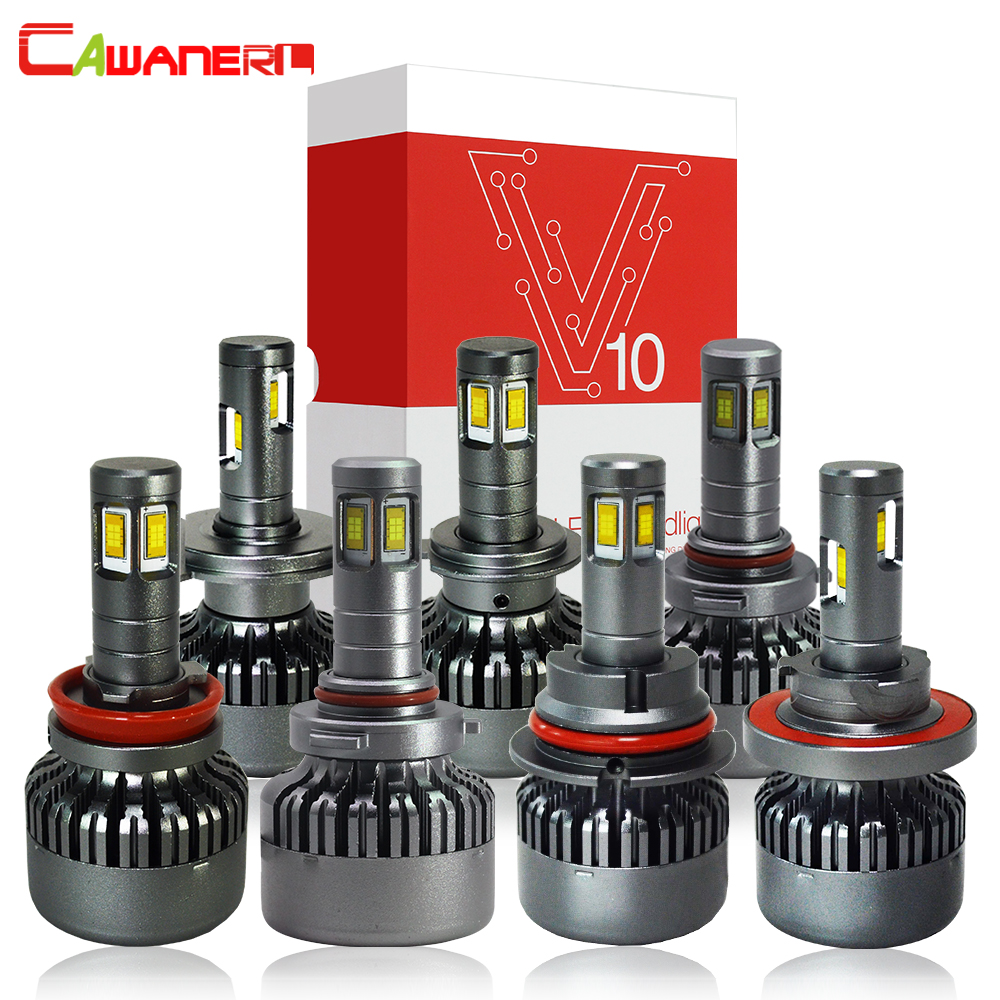 Cawanerl H4 H7 LED Del Faro Della Lampadina 100 W 10000LM/Set di Alta Luminoso 6000 K 12 V H8 H9 H11 9005 HB3 HB4 9006 9007 H13 Auto Luce Del Faro