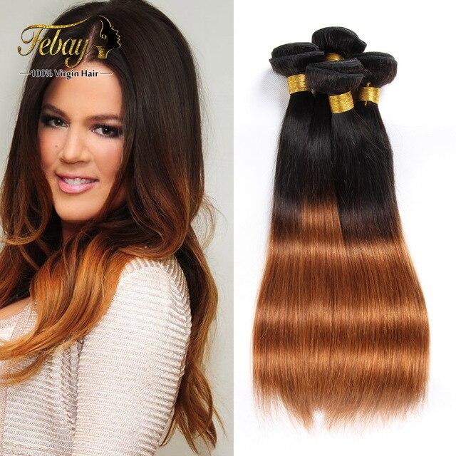 Indian Ombre Virgin Human Hair Weave Straight Burgundy Light Brown