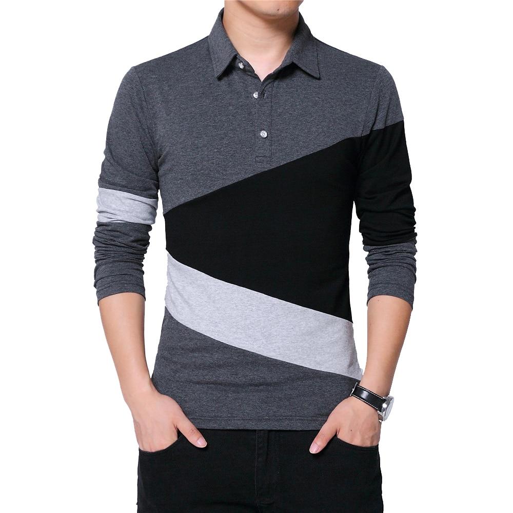 BROWON Autumn Fashion Plus Size 5XL Mens   T     Shirt   with Collar Color Patchwork   t  -  shirt   Long Sleeve Tshirt Men Clothes 2018
