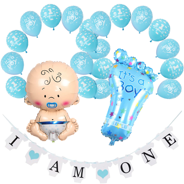 Amawill 1st Birthday Decorations Its A Boy Girl Blue Pink Latex Balloons Baby Shower Favors Banner 1 Year Old Party 75D