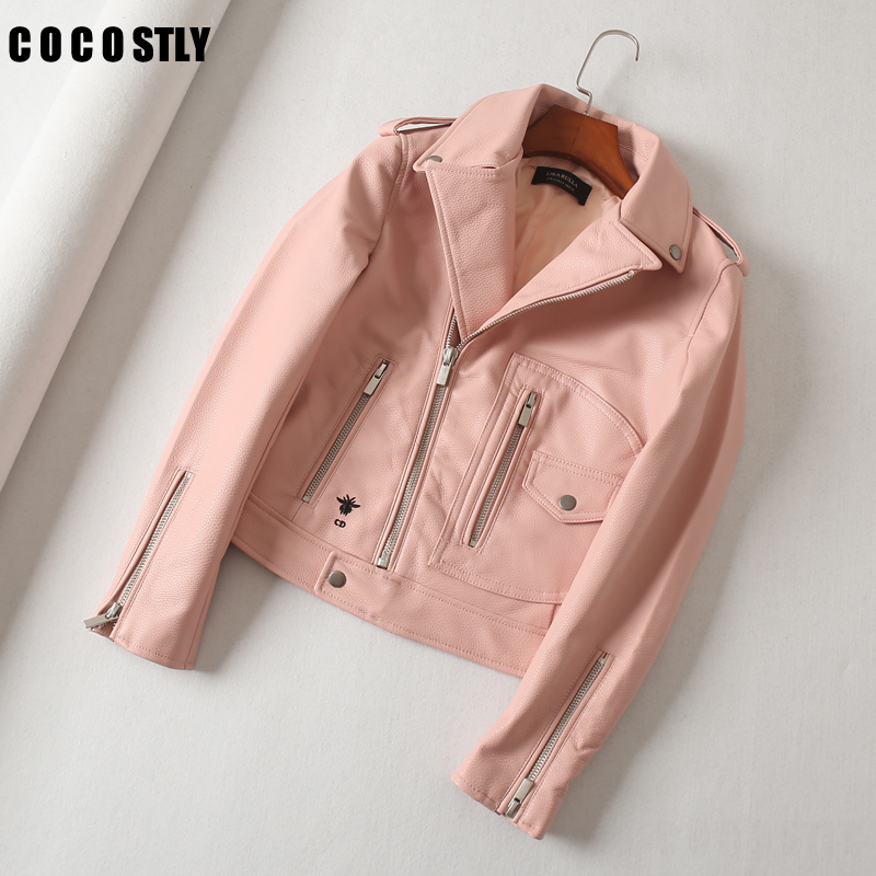 Autumn Women Short Faux   Leather   Jacket Coats Turn Down Collar Motorcycle Trendy   Leather   Outwear chaqueta mujer jaqueta de couro
