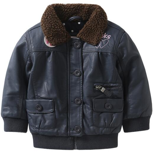 ФОТО new 2016 Autumn and winter girl coats and jackets pu leather clothing kids leather jacket casual outdoor outerwear