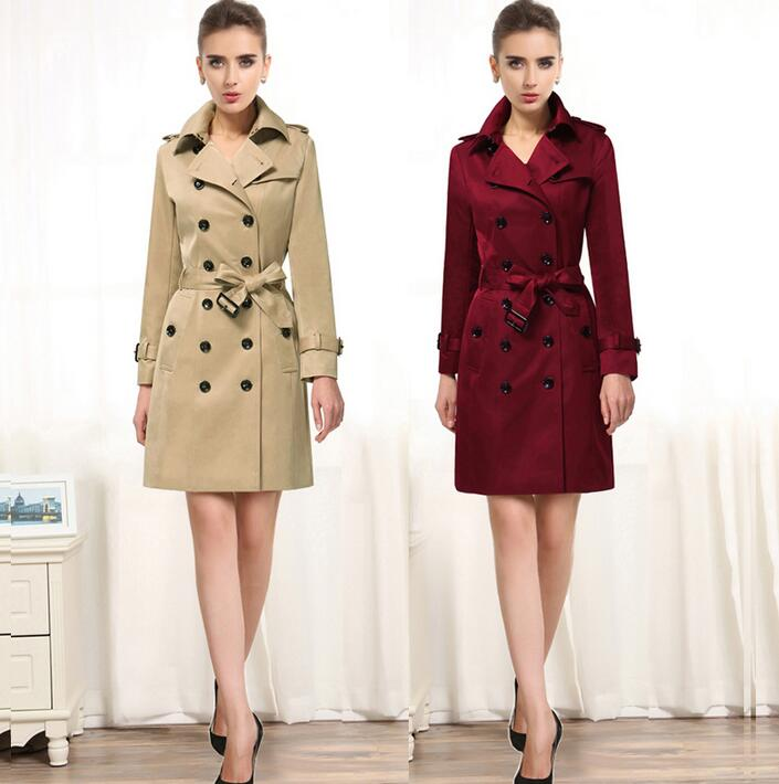 Female   trench   coats 2019 spring autumn fashion slim double breasted   trench   coat women long-sleeve medium-long coats plus size
