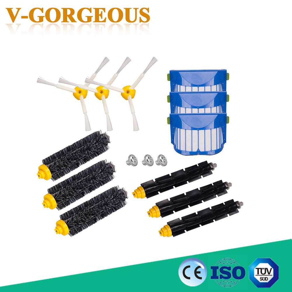 Top Quality 3 Bristle & Flexible Beater &3 Armed Brush &3 Aero Vac Filter &3 Screws For iRobot Roomba 600 620 630 650 660 aero vac filter bristle brush flexible beater brush 3 armed side brush tool for irobot roomba 600 series 620 630 650 660