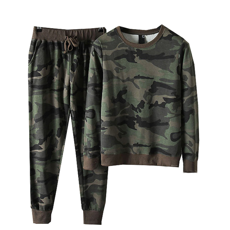 Rlyaeiz 2019 Spring Autumn Casual Set Men Tracksuit Camouflage Printed T Shirts + Pants Sporting Suits Male Sweat Suit