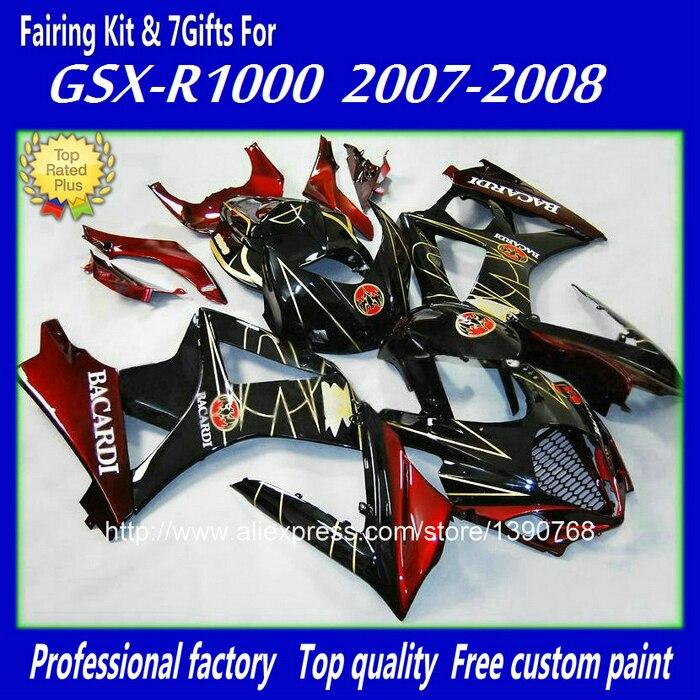 Motorcycle fairings set for SUZUKI K7 GSXR 1000 07 08 red black BACARDI fairing body kit  2007 2008 bodywork BM23