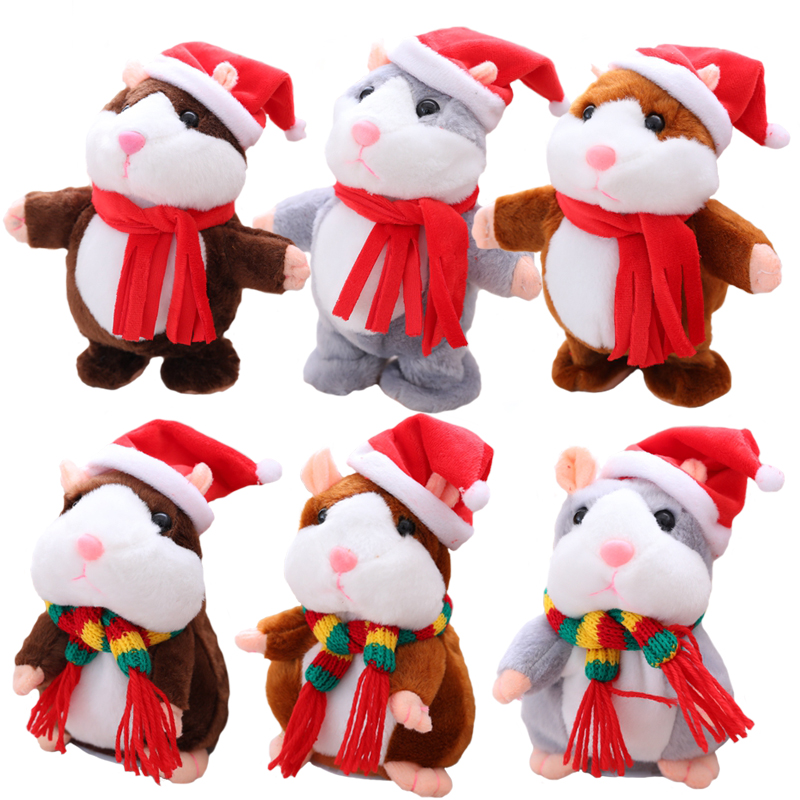 Hot Sale Christmas style 16cm Talking Hamster Plush Toy Kawaii Russian Sound Record Plush Hamster Stuffed for kids brithday gift