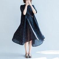 Cotton Linen Plus Size Dress New Summer Women Loose Short Sleeve Vestidos Fashion Floral Print Cotton